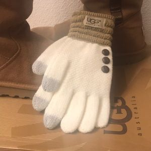 UGG gloves off white/ tan Touch screen